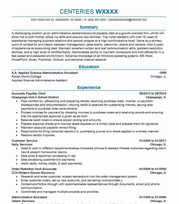 Accounts Payable Clerk Resume Objectives Resume Sample LiveCareer