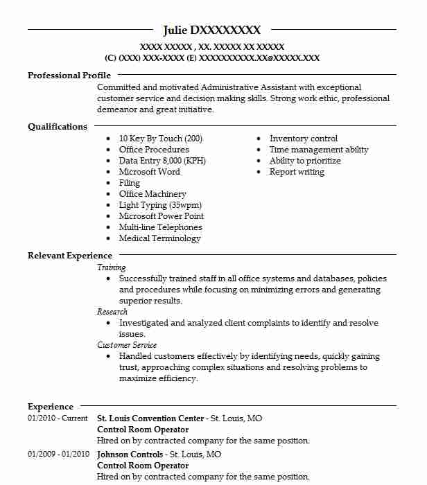 Control Room Operator Resume Sample Resumes Misc LiveCareer - control room operator sample resume