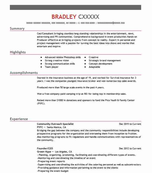 Community Outreach Specialist Resume Sample LiveCareer