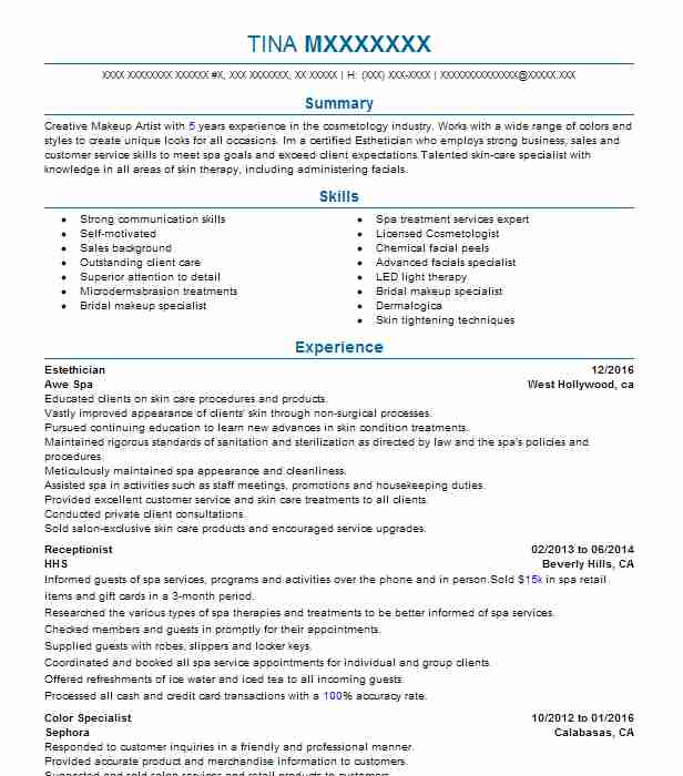 19447 Estheticians Resume Examples Beauty And Spa Resumes LiveCareer - beauty specialist sample resume