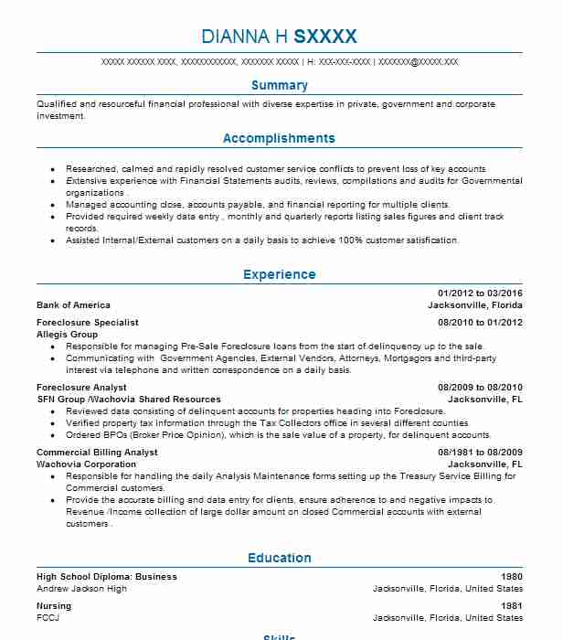 Foreclosure Specialist Resume Sample Specialist Resumes LiveCareer