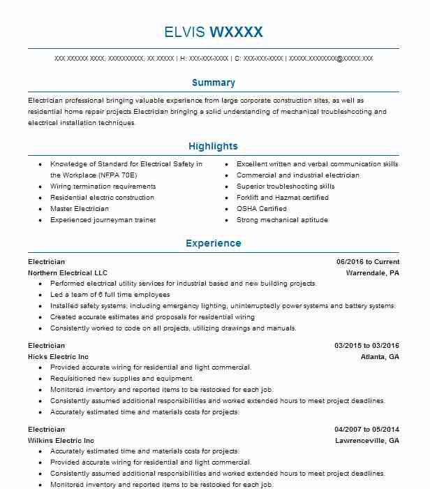 sample of electrician resumes