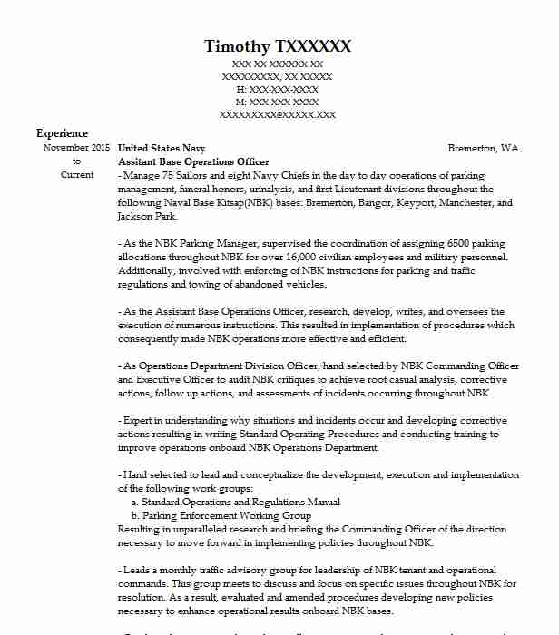 Assitant Base Operations Officer Resume Example (United States Navy