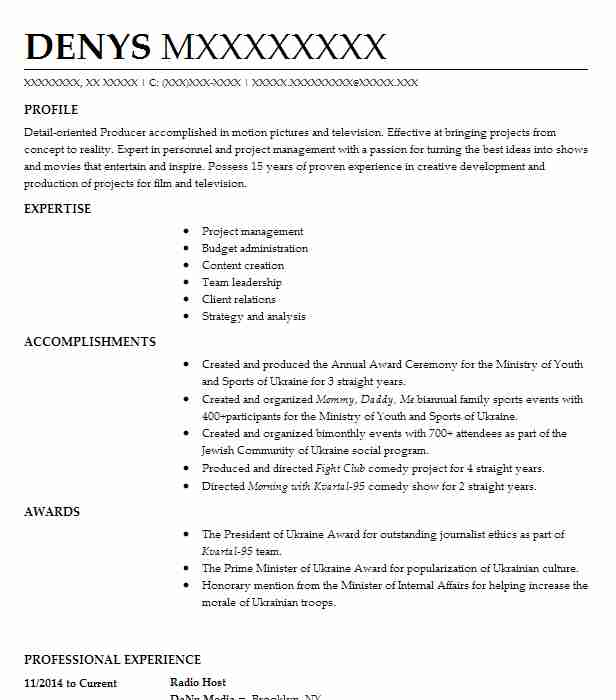 Radio Host Resume Example (Danu Media) - Brooklyn, New York - Resume Sample 2014
