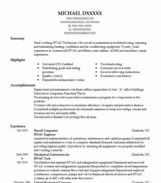 Hvac Engineer Resume Sample Engineering Resumes LiveCareer