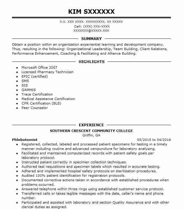 Phlebotomist Resume Sample Nursing Resumes LiveCareer