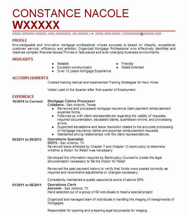 Foreclosure Processor Sample Resume Gorgeous Mortgage Claims