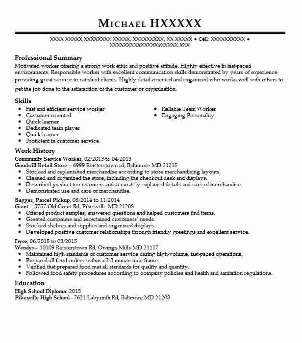 Community Service Worker Resume Sample Worker Resumes LiveCareer