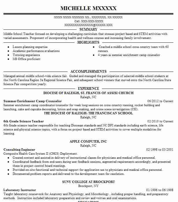 1240 Middle School Resume Examples in North Carolina LiveCareer - middle school resume