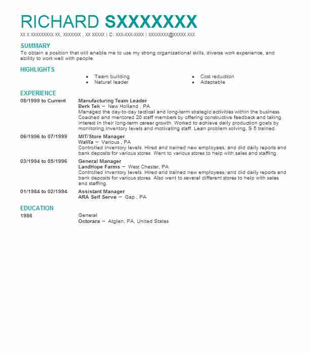 Manufacturing Team Leader Resume Sample Leader Resumes LiveCareer