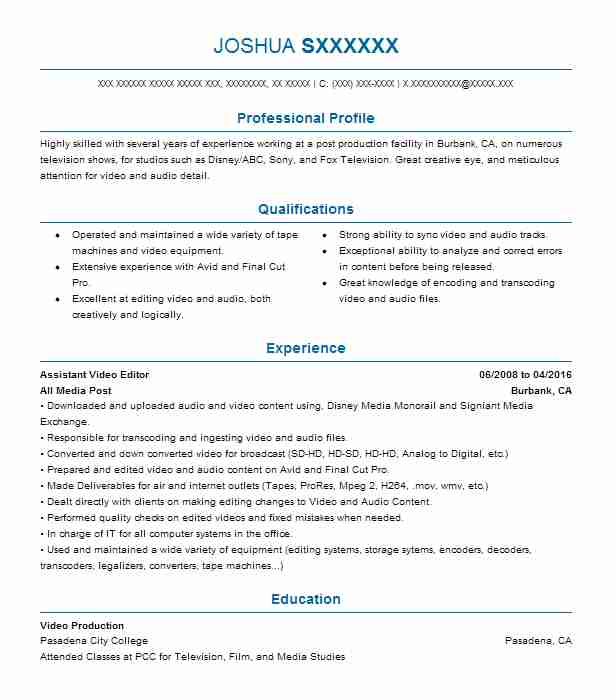 Assistant Video Editor Resume Sample Editor Resumes LiveCareer