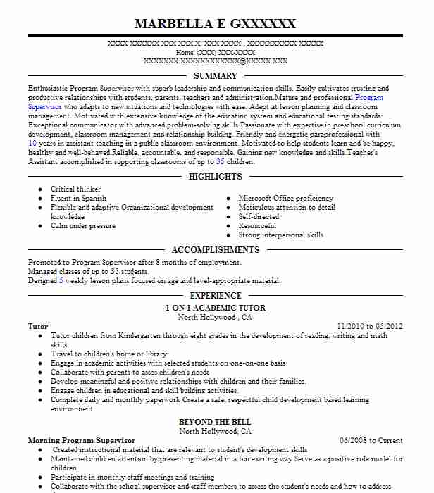 Tutor Resume Sample Resumes Misc LiveCareer