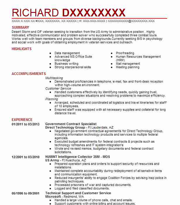 Government Contract Specialist Resume Sample LiveCareer