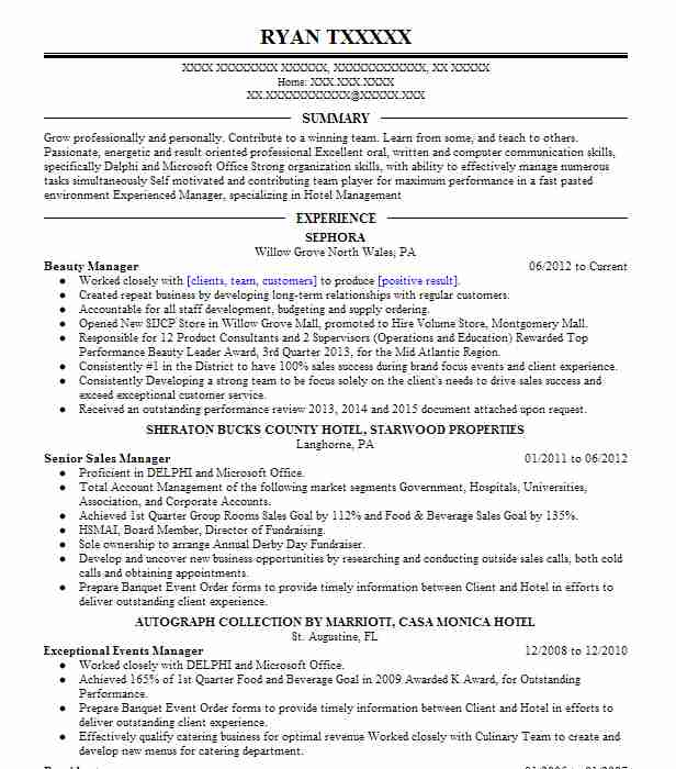 Beauty Manager Resume Sample Manager Resumes LiveCareer