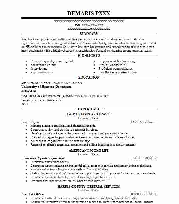 resume samples for travel and tourism