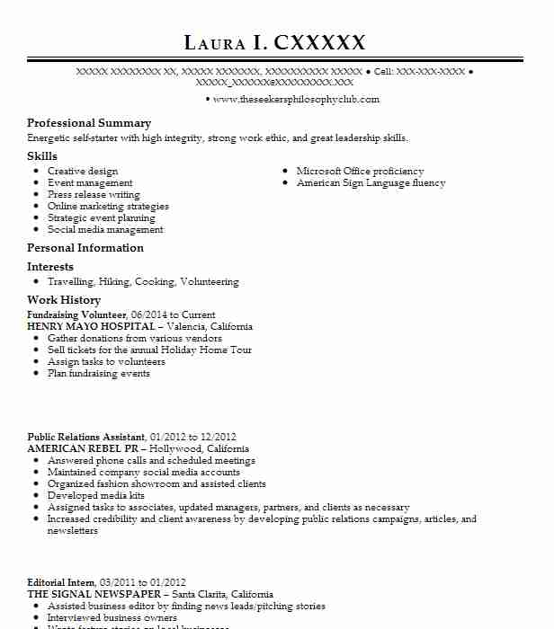resume to volunteer at a hospital