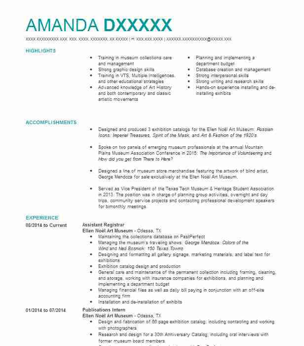 Assistant Registrar Resume Sample Resumes LiveCareer