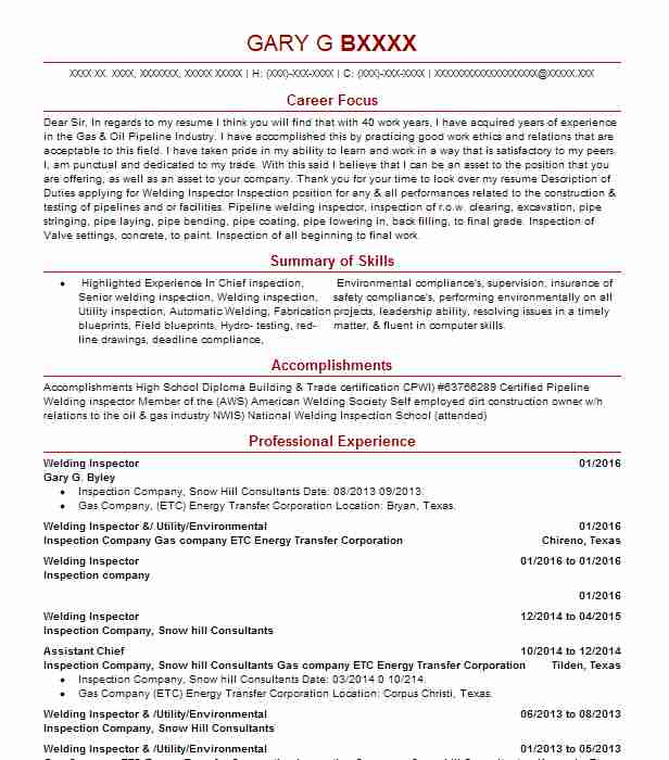 Welding Inspector Resume Sample Resumes Misc LiveCareer