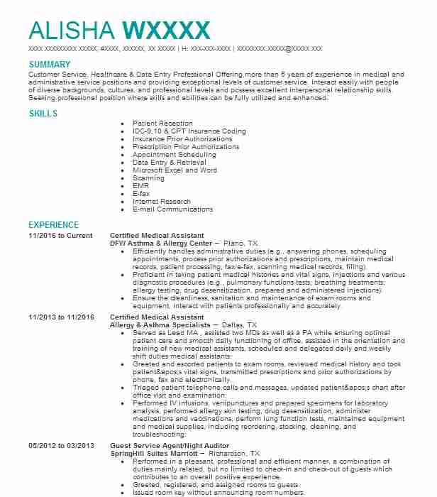 Certified Medical Assistant Resume Sample LiveCareer - Cma Resume Sample