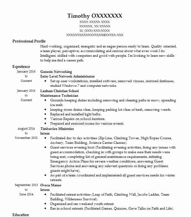 Entry Level Network Administrator Resume Sample LiveCareer