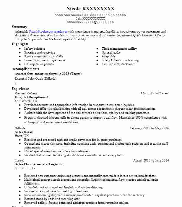 Hospital Receptionist Resume Sample LiveCareer