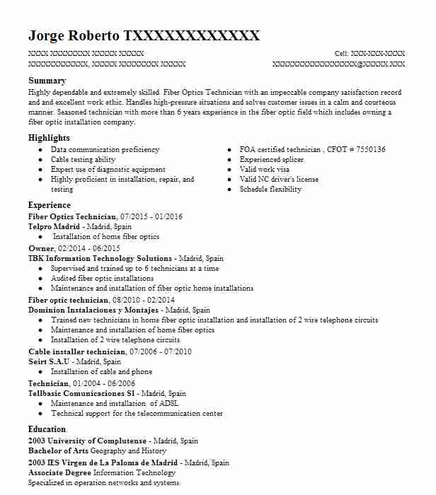 fiber optics technician resume sample