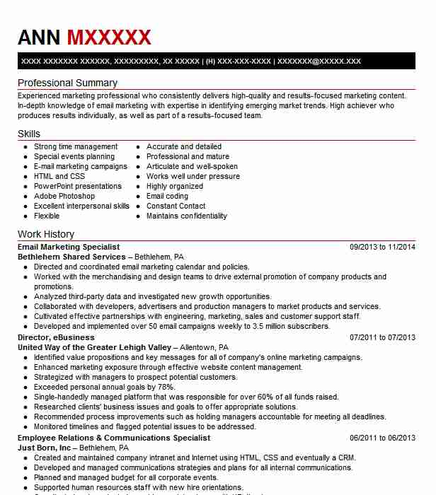 Email Marketing Specialist Objectives Resume Objective LiveCareer