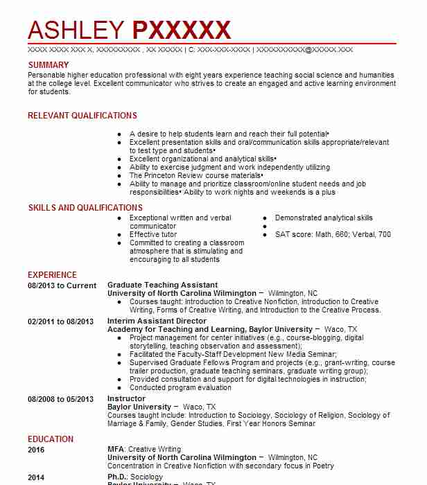 Graduate Teaching Assistant Resume Sample LiveCareer