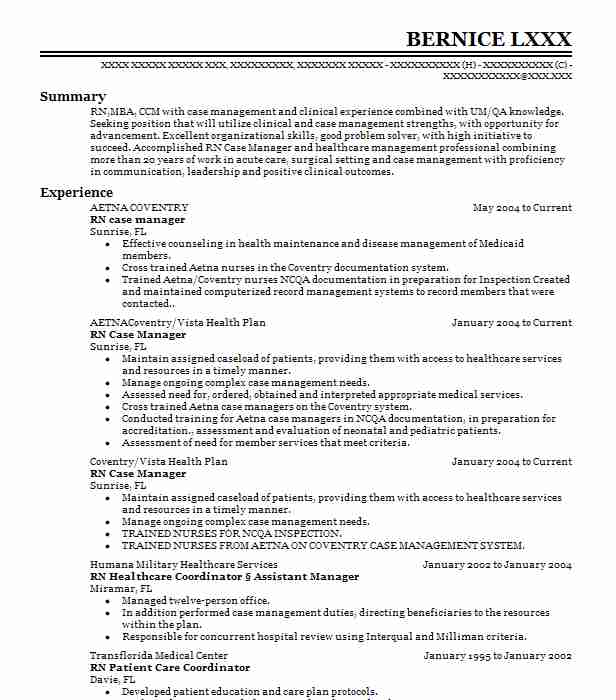 684 Case Managers Resume Examples in Florida LiveCareer - case manager resume sample
