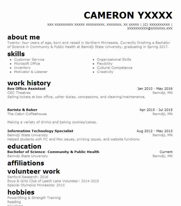 Box Office Assistant Resume Sample Assistant Resumes LiveCareer