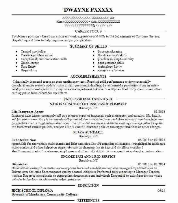 Life Insurance Agent Resume Sample Agent Resumes LiveCareer