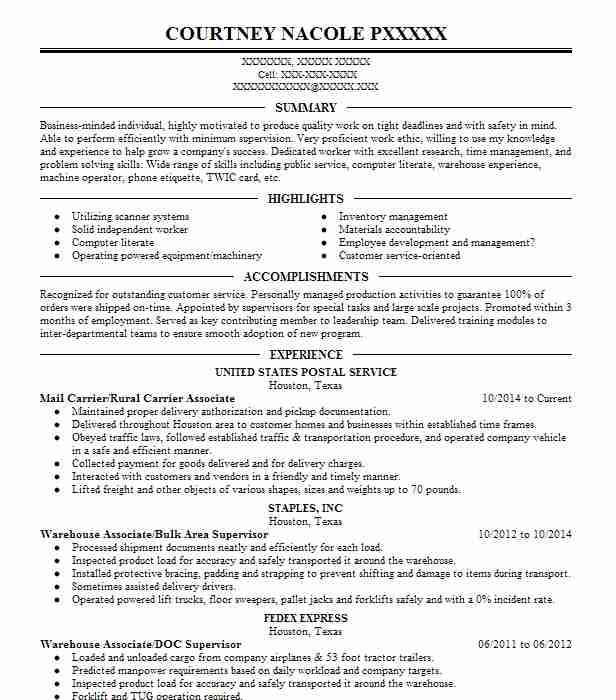 Mail Carrier/Rural Carrier Associate Resume Example (United States