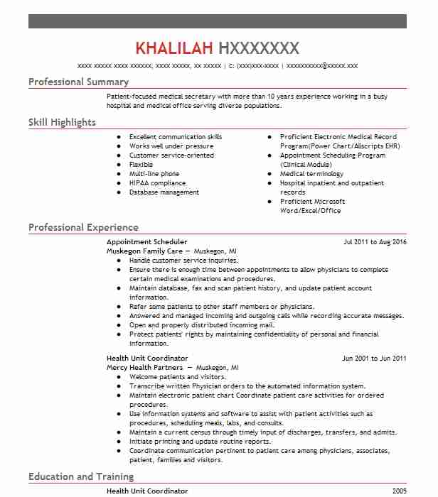 Appointment Scheduler Resume Sample Resumes Misc LiveCareer