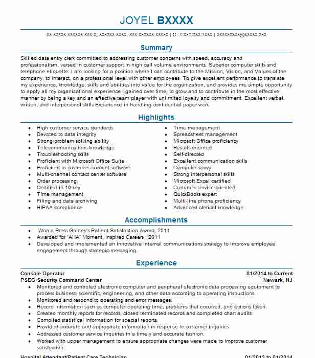 Console Operator Resume Sample Operator Resumes LiveCareer