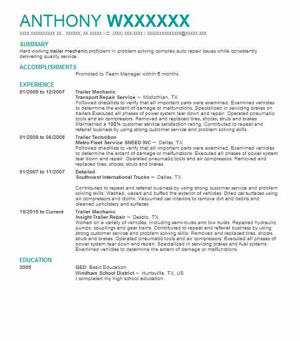 Trailer Mechanic Resume Sample Mechanic Resumes LiveCareer
