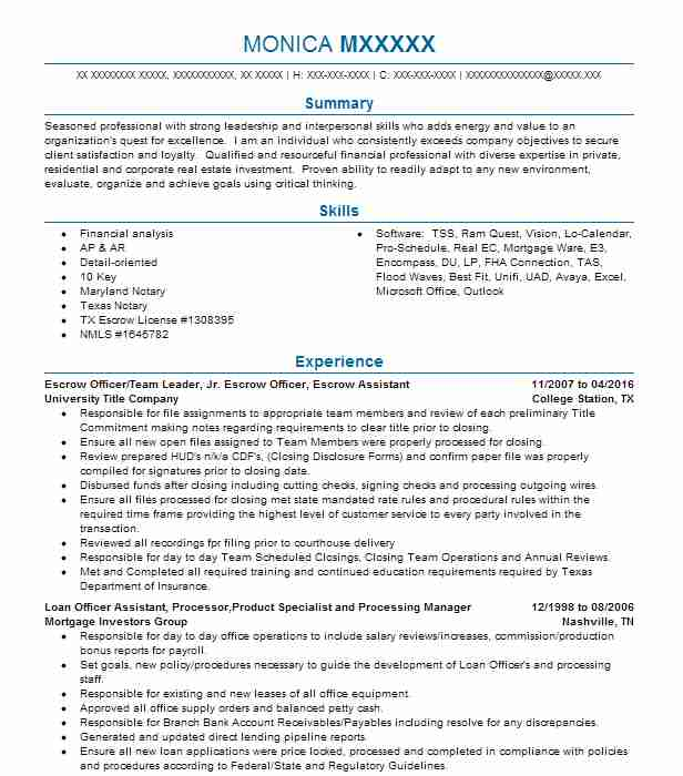 32 Mortgage Resume Examples in West Virginia LiveCareer - escrow officer resume
