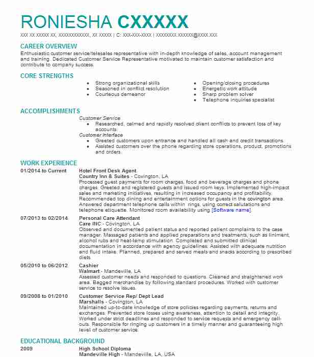 Hotel Front Desk Agent Resume Sample Agent Resumes LiveCareer