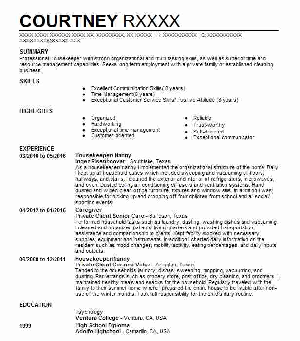 1209 Housekeeping Resume Examples in Texas LiveCareer - environmental service aide sample resume