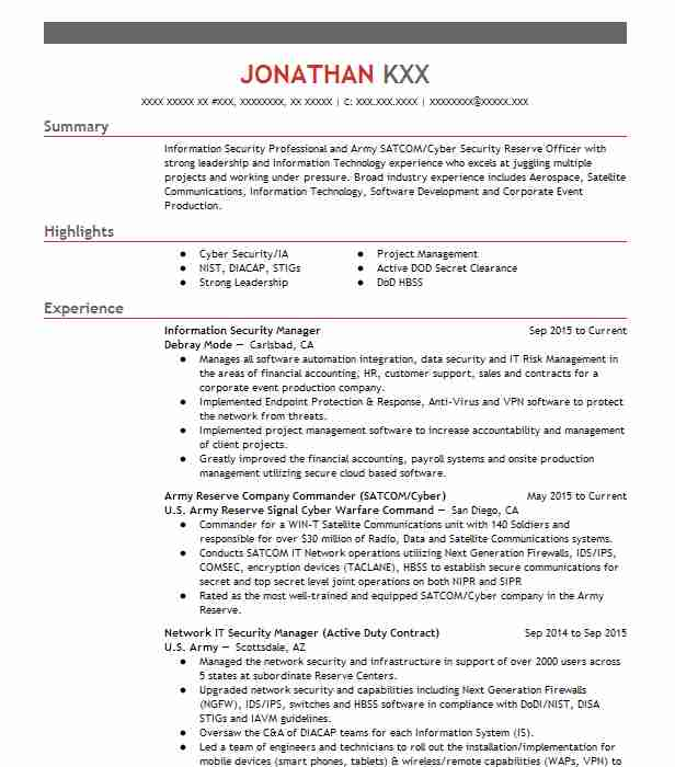 Information Security Manager Resume Sample LiveCareer