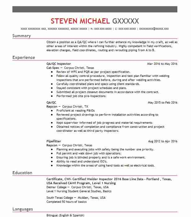 Best Pipefitter Resume Example LiveCareer