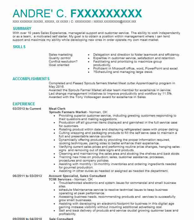 28 Butchers And Meat Processing Resume Examples in Oklahoma LiveCareer - Butcher Apprentice Sample Resume