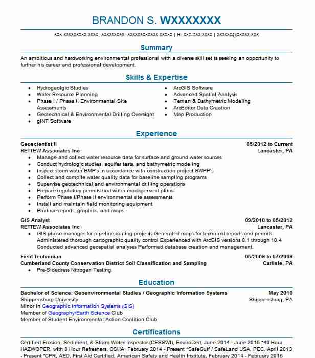 205 Environment And Conservation Resume Examples in Pennsylvania - geographic information system engineer sample resume