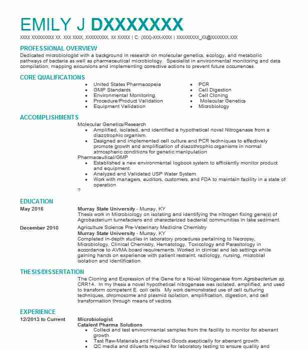 Microbiologist Resume Example (Catalent Pharma Solutions - microbiologist resume example