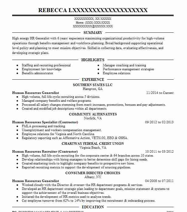 Senior HR Generalist Resume Example (Comprehensive Care) - Gary, Indiana - Hr Generalist Resumes
