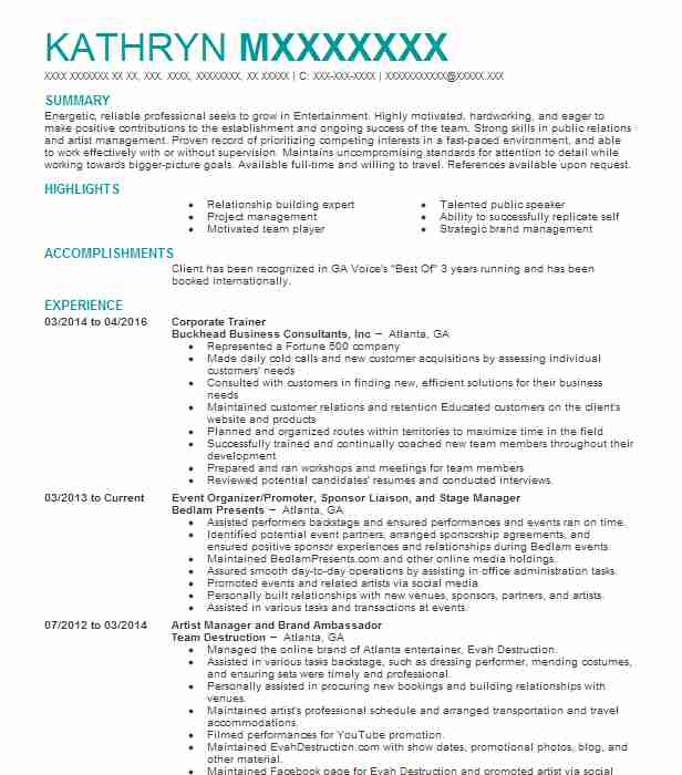 Corporate Trainer Resume Sample Resumes Misc LiveCareer