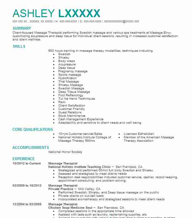 1321 Massage Therapy (Beauty And Spa) Resume Examples in California