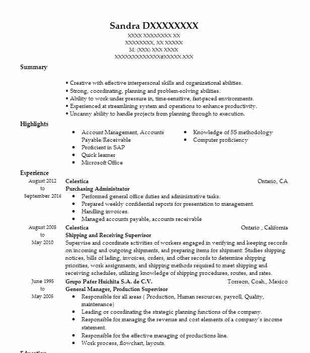Purchasing Administrator Resume Sample LiveCareer