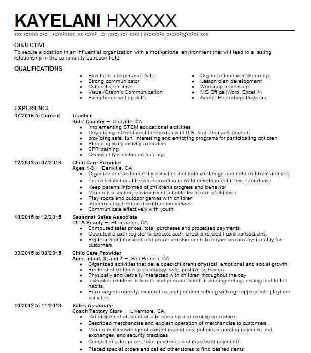 Child Care Provider Resume Sample Caregiver Resumes LiveCareer