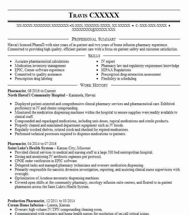 70 Pharmacists Resume Examples in Hawaii LiveCareer