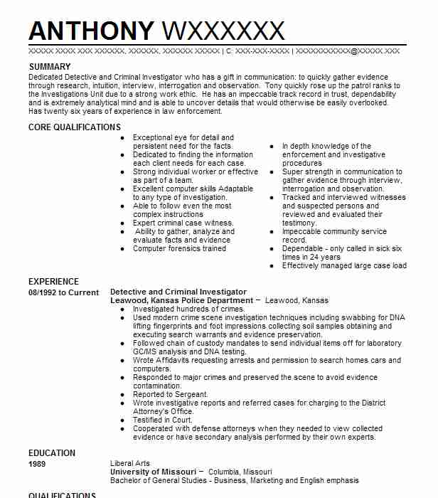 Detective And Criminal Investigator Resume Sample LiveCareer - criminal investigator sample resume